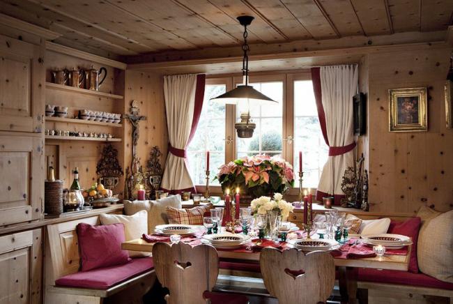 Уютная кухня в стиле шале
