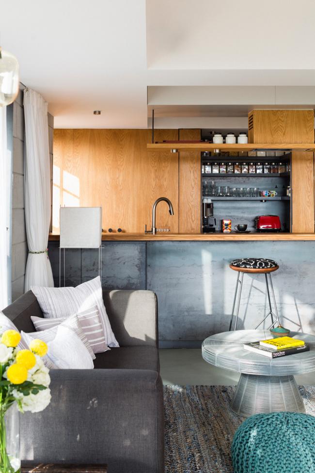 Дизайн совмещенной кухни в стиле лофт