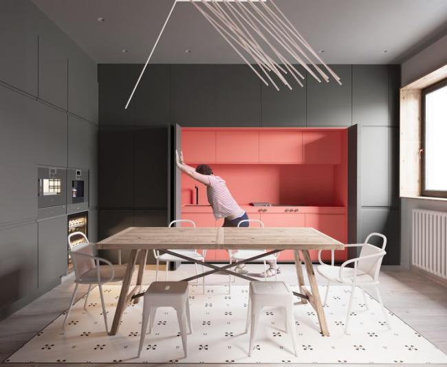 Оригинальная идея функциональной и комфортной кухонной мебели