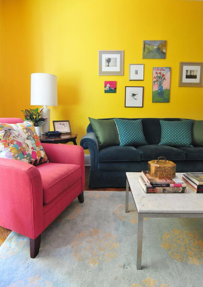 Красивое сочетание цветов в дизайне гостиной