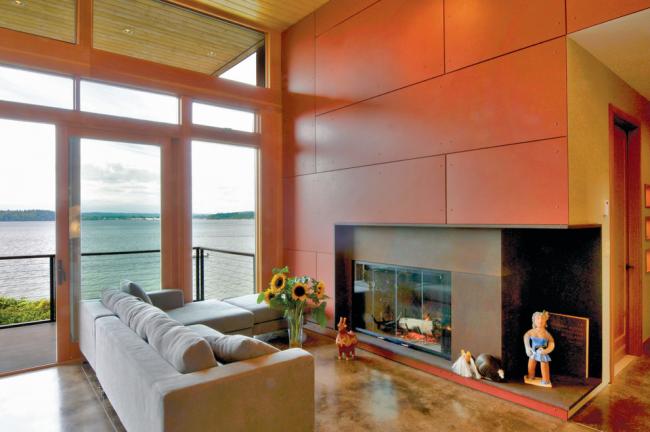 Использование асбестоцементных листов в дизайне гостиной