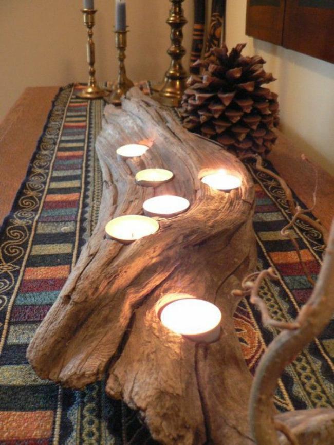 Подсвечник из массивной ветки сухой древесины