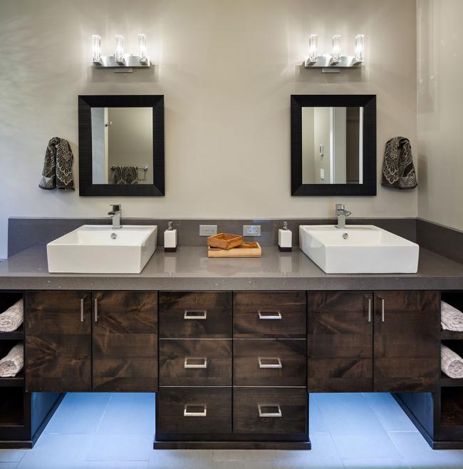 Часто применяется и в дизайне ванных комнат