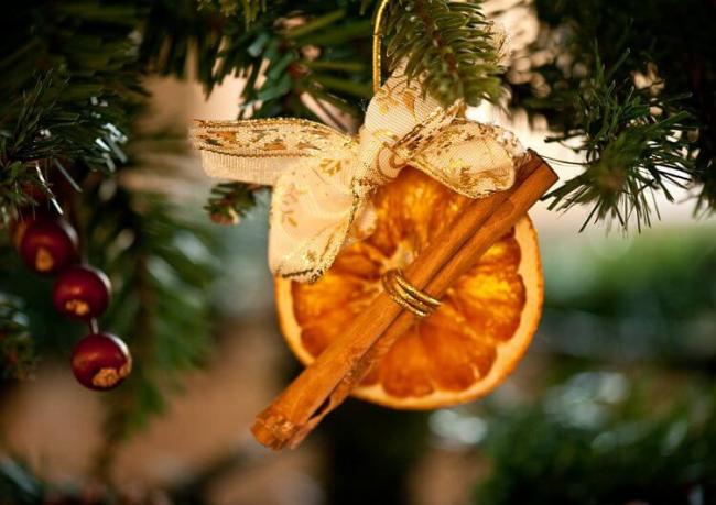 Цитрусовые украшения на ёлку