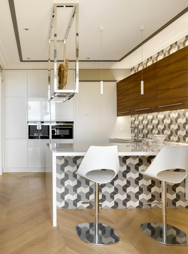 Плитка с 3D-эффектом в интерьере кухни