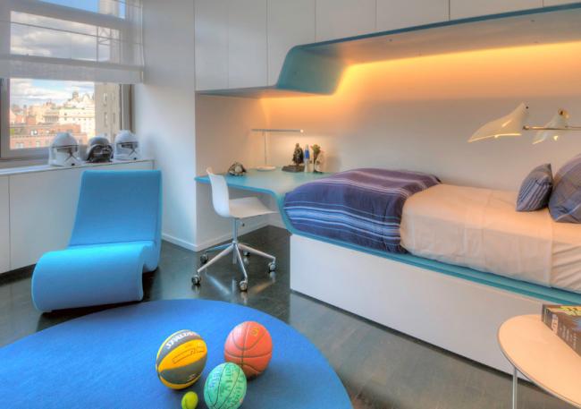 Детская комната с подсветкой встроенной в корпусную мебель