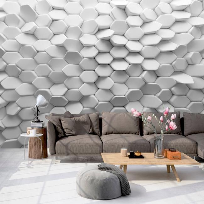 Гостиная с необычным объемным эффектом на стенке