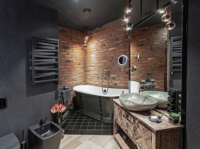 Стильная ванная комната в темных цветах