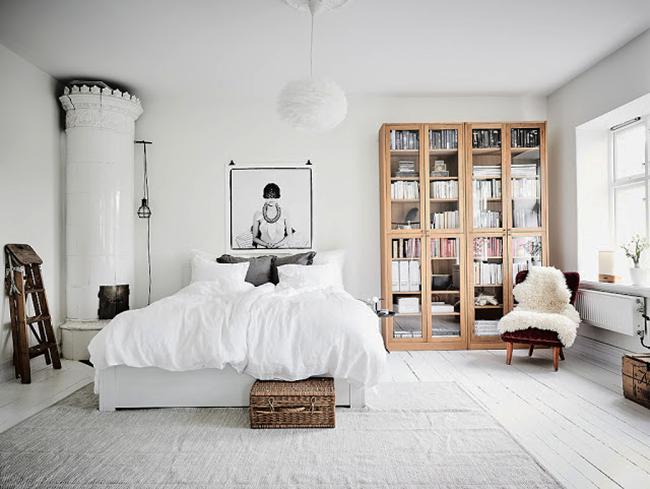 Оформление комнаты в белых тонах