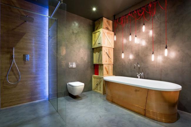 Преобладающие материалы в типичном интерьере: бетон, дерево, метал и стекло