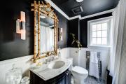 Фото 1 Трендовый монохром: создаем дизайн интерьера черной ванной комнаты