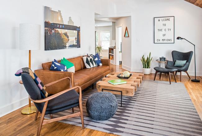 Дизайн небольшой гостиной в стиле модернизм