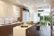 Фото 15 Варианты функциональной планировки и дизайн интерьера кухни 17 кв. метров