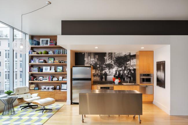 Интересная идея по оформлению интерьера кухни-студии