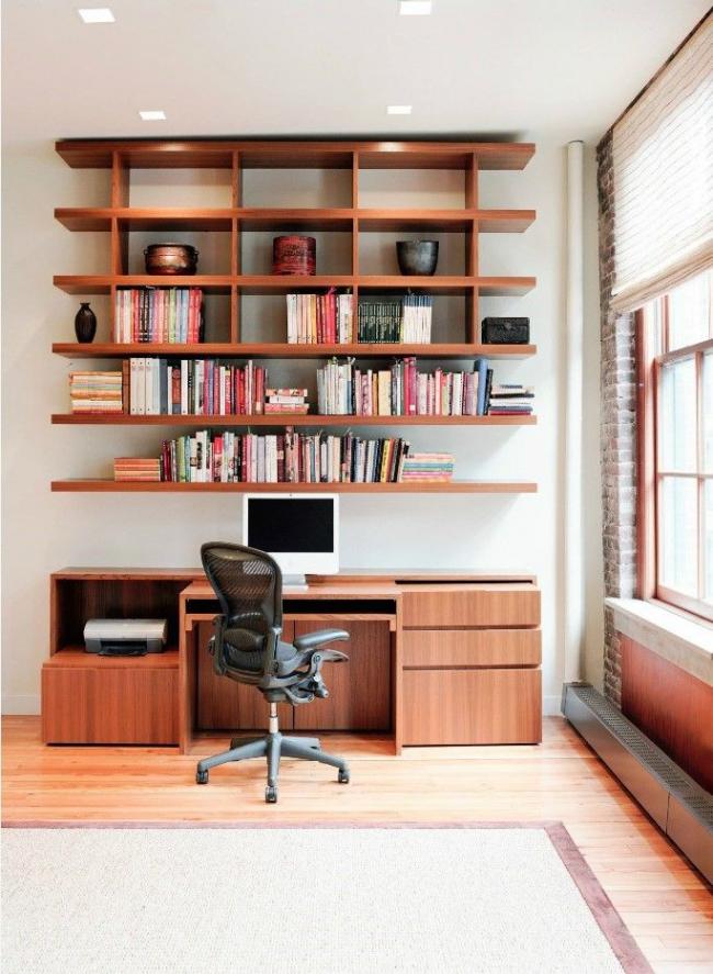 Оформление рабочей зоны дополнительными полочками и шкафчиками