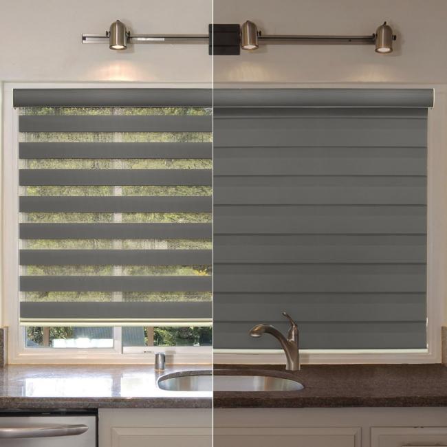 Одна рулонная штора обеспечивает несколько режимов освещения: затемнение, мягкий рассеянный свет или максимум солнца