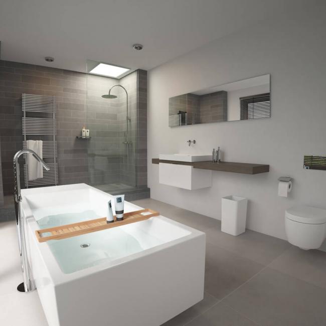 Минимум банной атрибутики добавляет дополнительный простор и объем комнате без потери ее функциональности