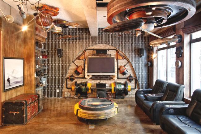 Интересный дизайн гостиной в стиле стимпанк