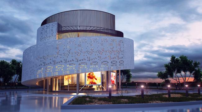Такая форма здания выглядит достаточно футуристично