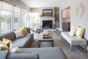Фото 14 Секреты гармоничного и удобного дизайна гостиной с телевизором над камином