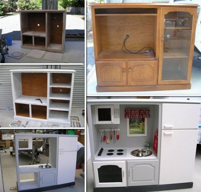 Из ненужной части мебельного гарнитура можно смастерить мини кухню для любимой дочки