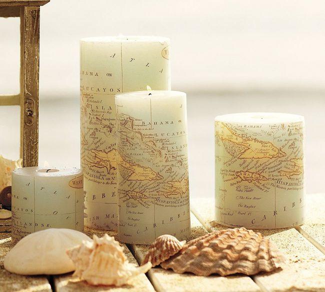 Декупаж свечей при помощи географических карт - роскошная идея для интерьера в стиле бохо, рустик и эко