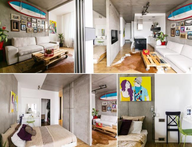 Квартира - студия в строгом молодежном стиле