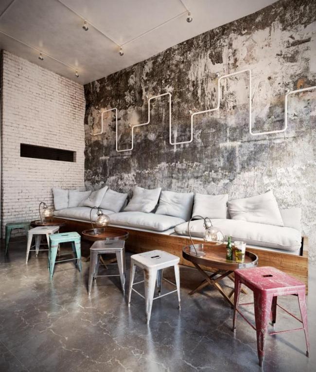 Создание стиля возможно в просторном помещении с высокими потолками
