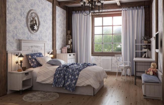 Около кровати также можно установить источники света