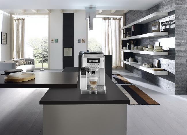 Мини кофеварка отлично смотрится в современном интерьере