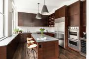 Фото 17 Элегантные кухни с темным полом: 80+ фотоидей для лаконичных и стильных кухонных интерьеров