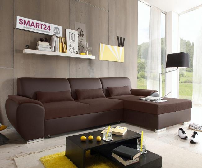 Современные дизайнерские решения допускают присутствие углового дивана в кожаном исполнении