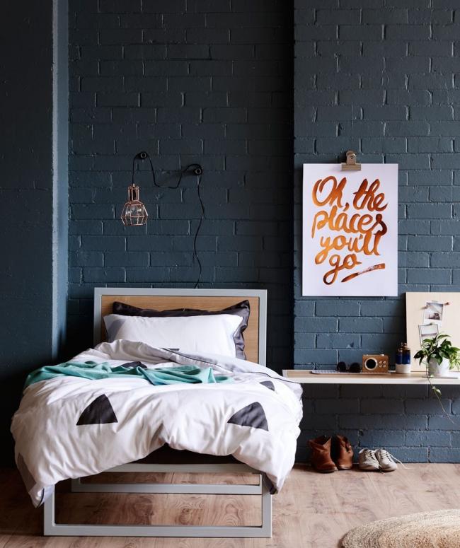 Дизайн спальной комнаты в стиле лофт