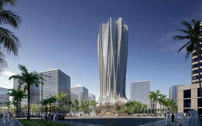 Концептуальный небоскреб, который будет возведен в молодом городе Лусаил (государство Катар)