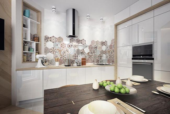 Интересная идея отделки рабочей зоны в кухне
