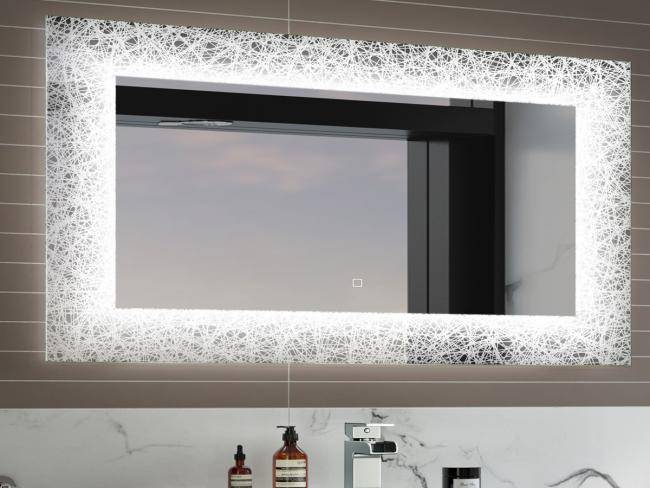 Необычный дизайн прямоугольного зеркала для ванной комнаты