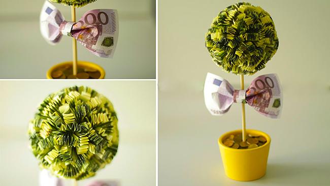 Денежный топиарий - отличный сувенир и превосходная идея для подарка для друзей, семьи и близких