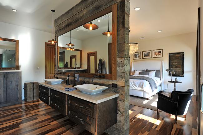 Зонирование спальни и ванной комнаты с помощью перегородки