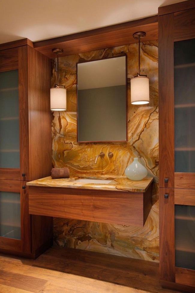 Оформление комнаты в теплых тонах с умывальником, врезанным в консоль