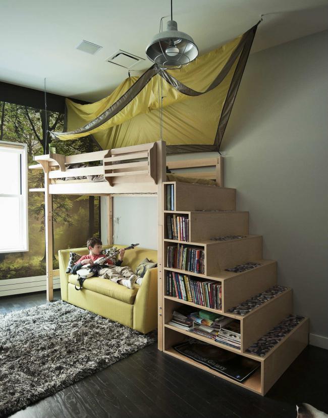 Кровать-чердак с системой хранения поможет сэкономить много полезного пространства
