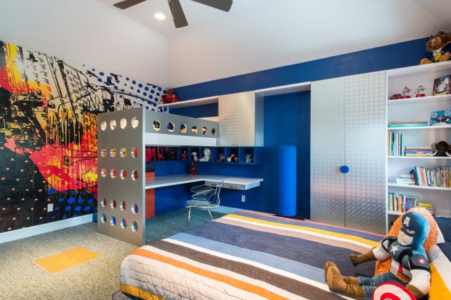 Кровать-чердак с рабочей зоной - идеальный вариант для небольшой спальни