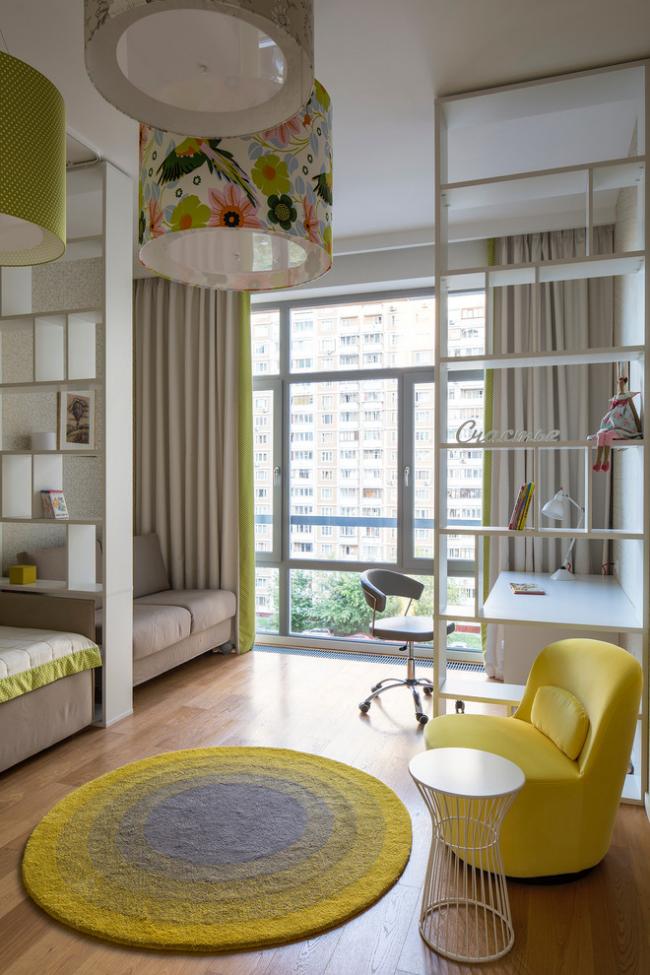 Зонирование детской комнаты с помощью стеллажей