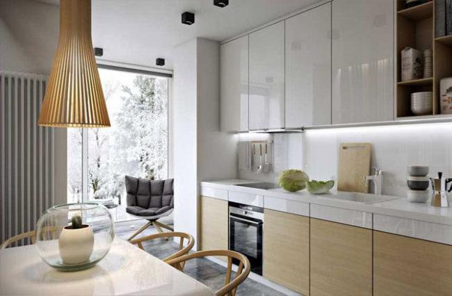 Интересный вариант совмещения кухни с балконом
