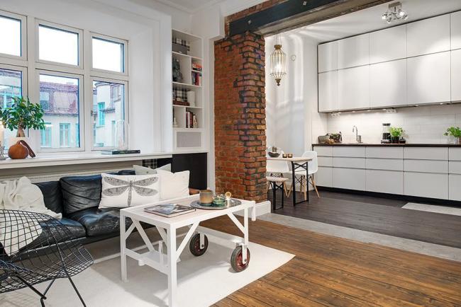 Ниша - выигрышный вариант для небольшого кухонного помещения