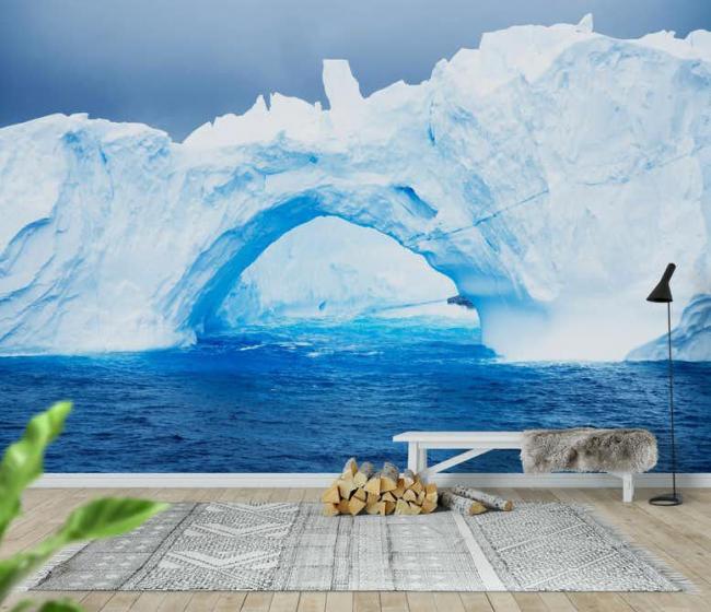 Просторная прихожая с изображением на стене ледников