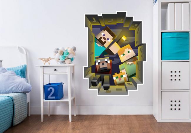 Изображение на стене детской фрагмента игры Minecraft