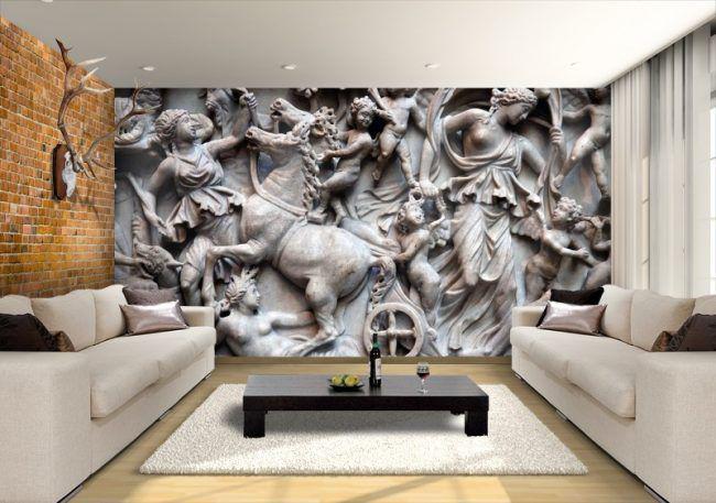 Отделка стен в гостиной с античными мотивами