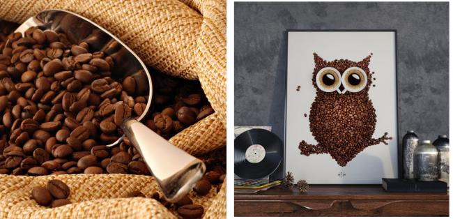 Интересный декоративный элемент из кофейных зерен