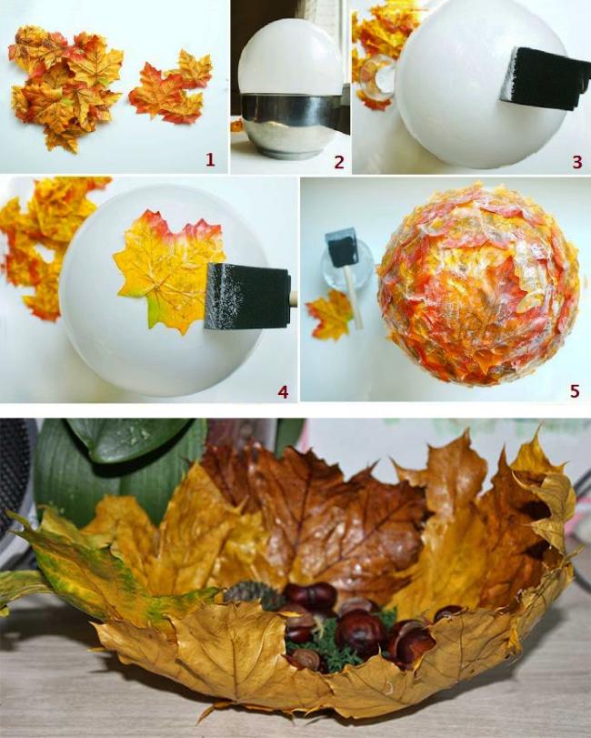 Пошаговая инструкция создания вазы из листьев клена