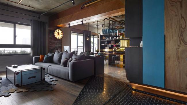 Оригинальная организация пространства в квартире-студии